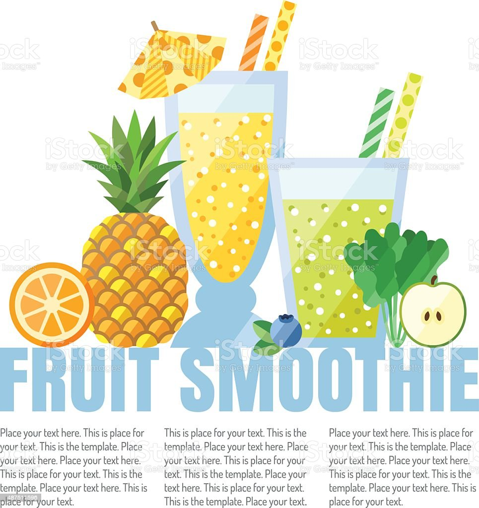Fruit smoothies (juices) vector background (orange, pineapple, blueberry, spinach, apple). vector art illustration