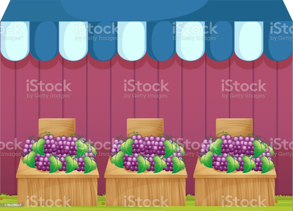 Fruit stands with grapes royalty-free stock vector art