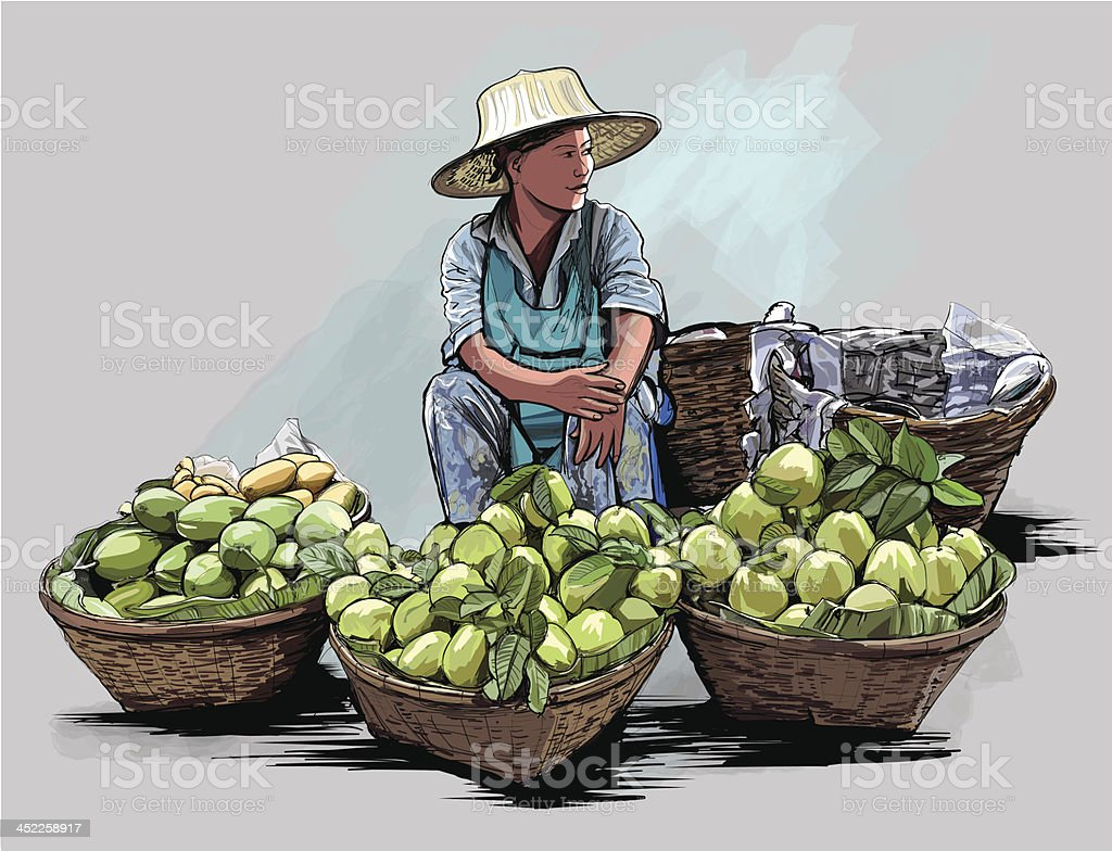 Fruit street vendor in Bangkok Thailand royalty-free stock vector art