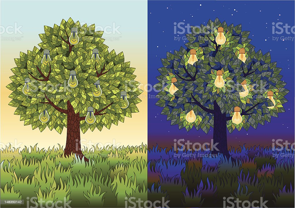 Fruit tree with light bulbs royalty-free stock vector art