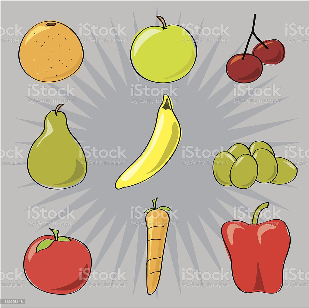 Fruit & Veg vector art illustration