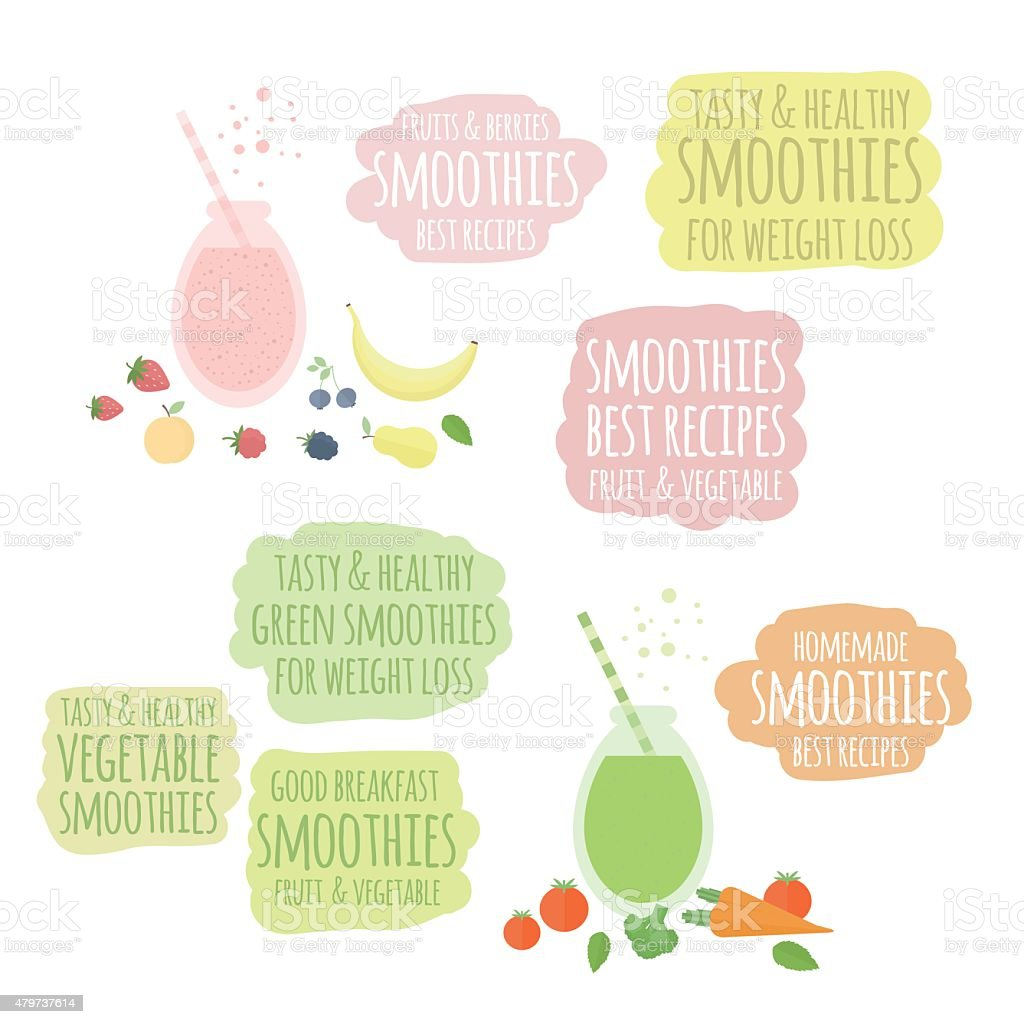 Fruit, vegatable smoothies in jar and labels vector art illustration