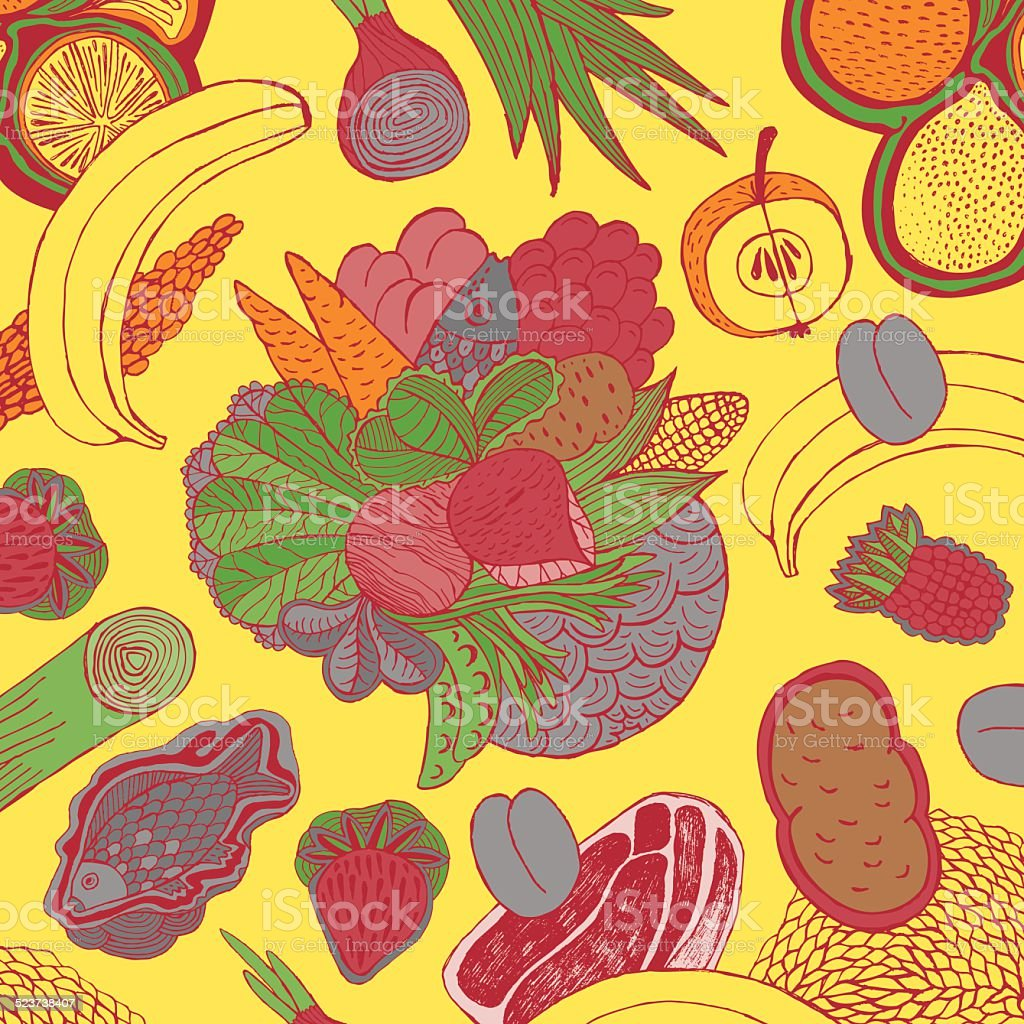 Fruit, vegetables, meat and fish vector art illustration