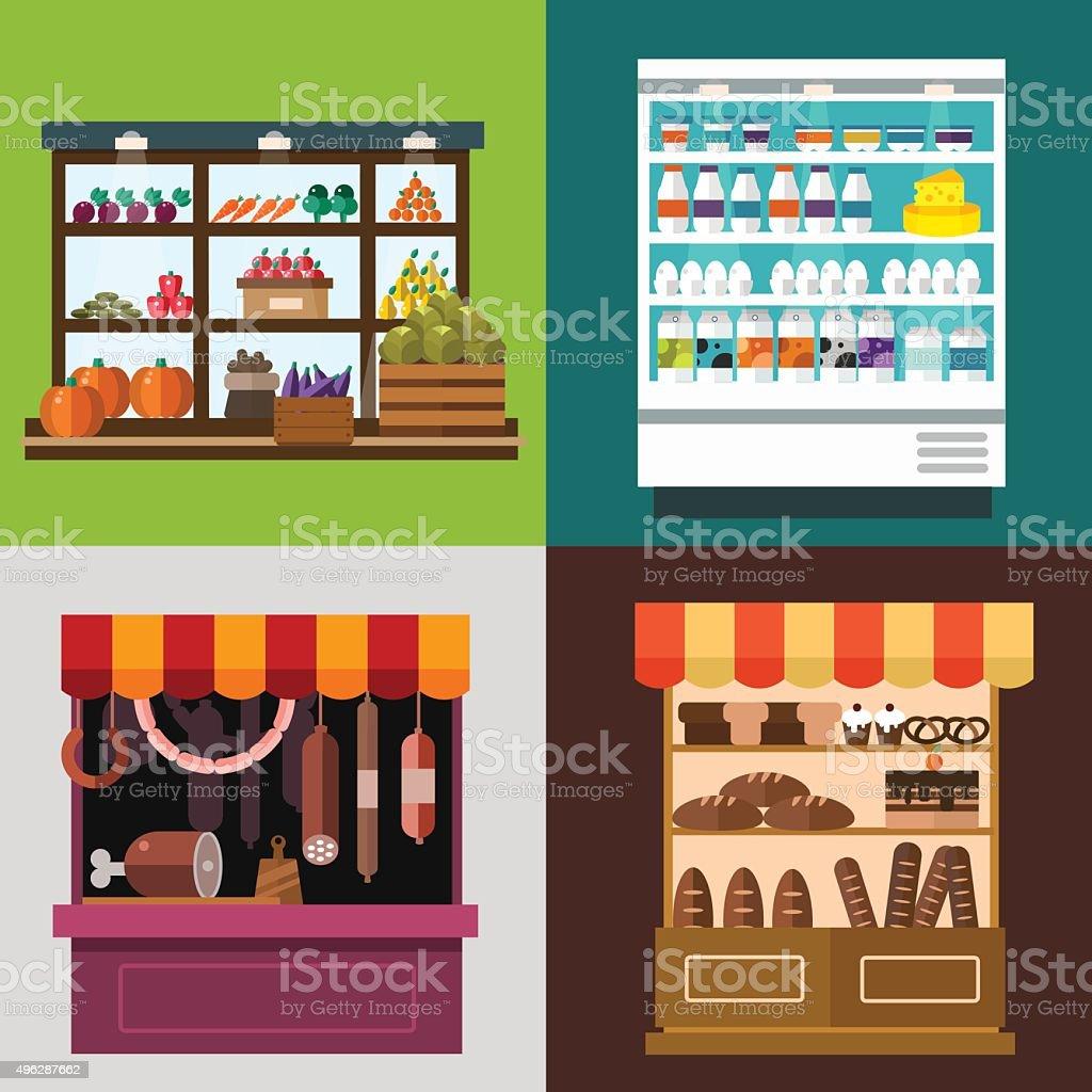 Fruit, vegetables, milk products, meat, bakery shop stall vector set vector art illustration