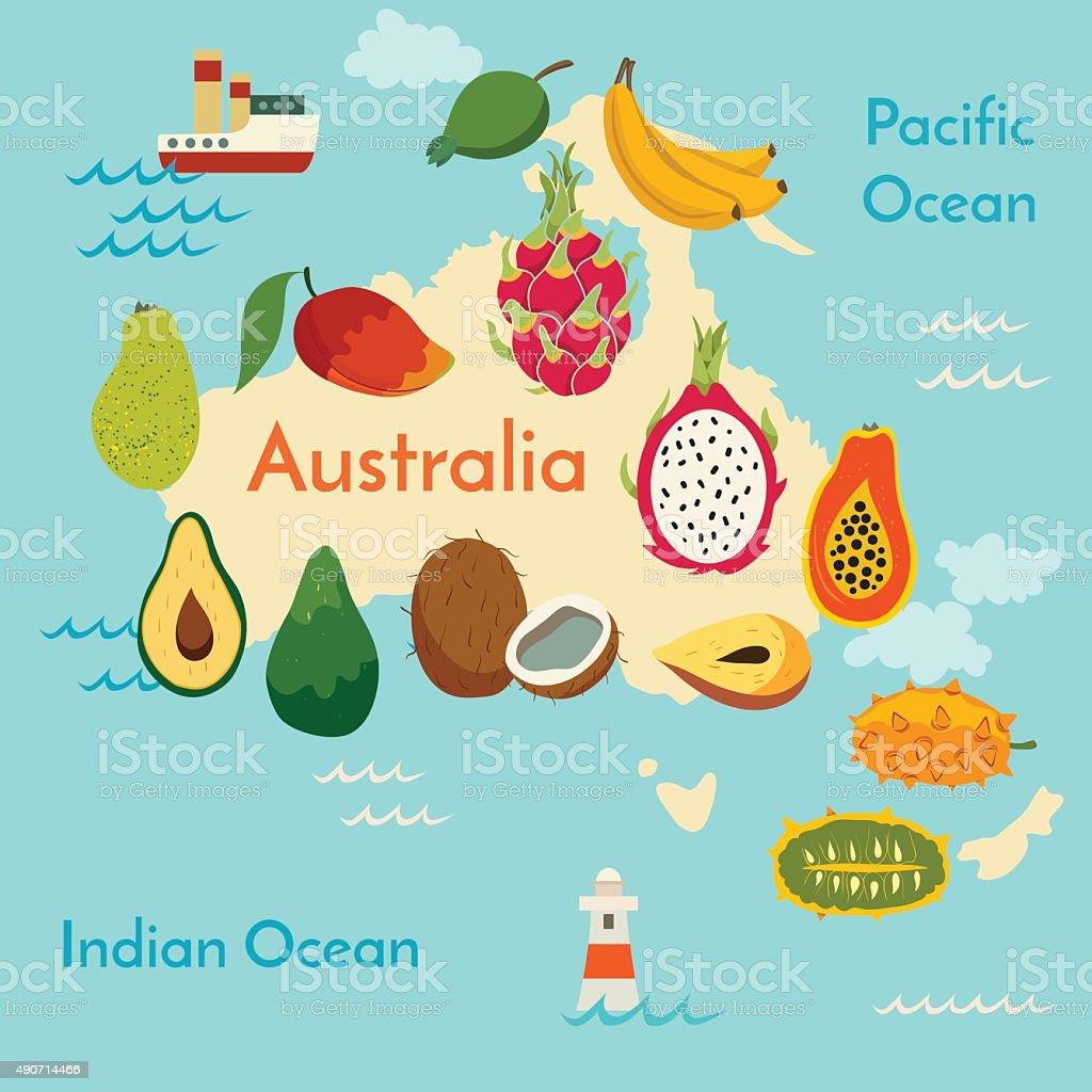 Fruit world map, Australia. vector art illustration