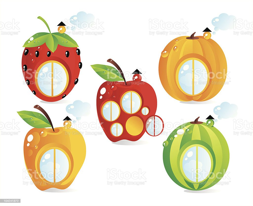Fruit-berry small houses royalty-free stock vector art