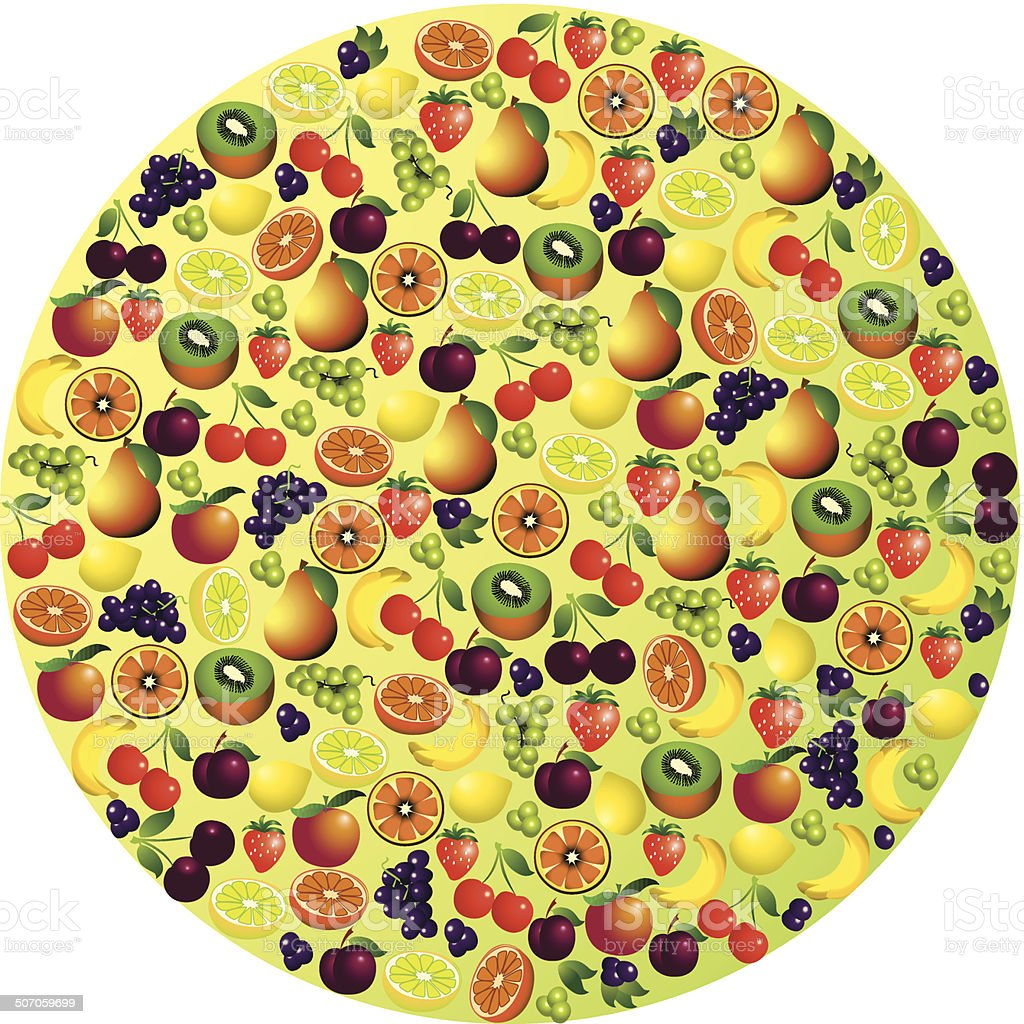 Fruits abstract composition, different fruits icon set, vector royalty-free stock vector art