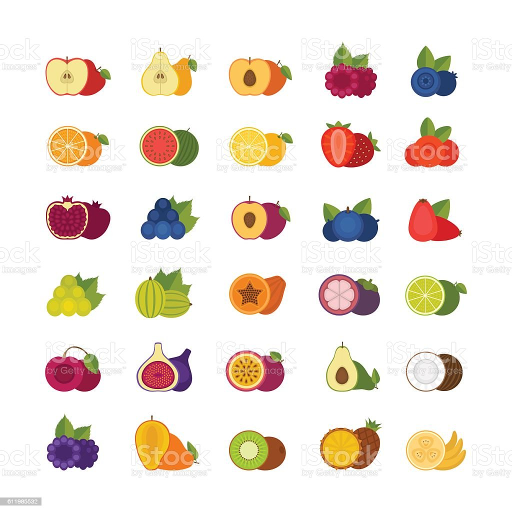 Fruits and berries icons set. Flat style, vector illustration. vector art illustration