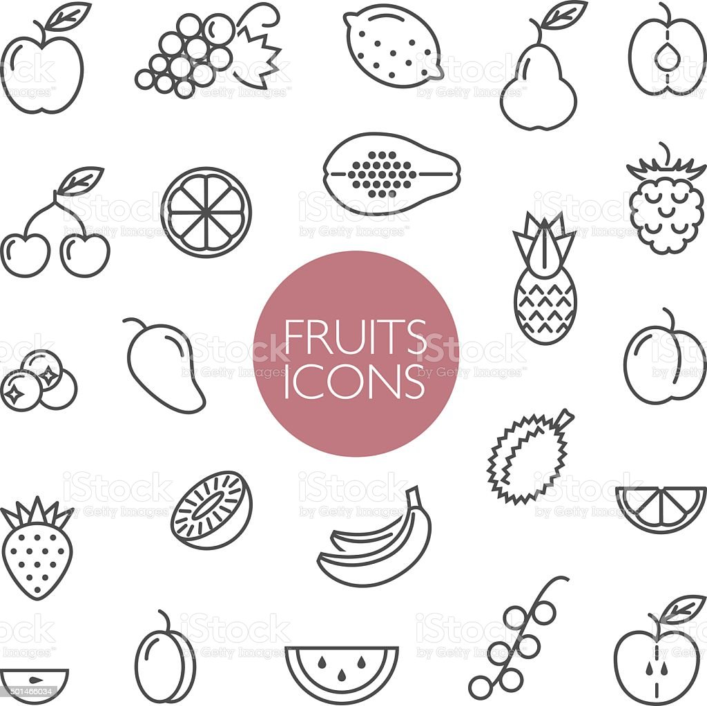 fruits and berries lines icons vector art illustration