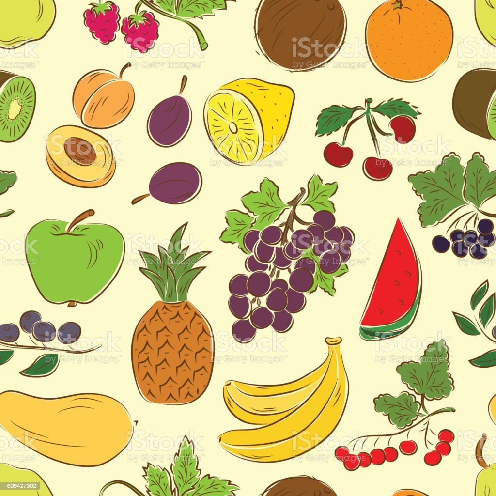 Fruits and berries seamless pattern vector art illustration