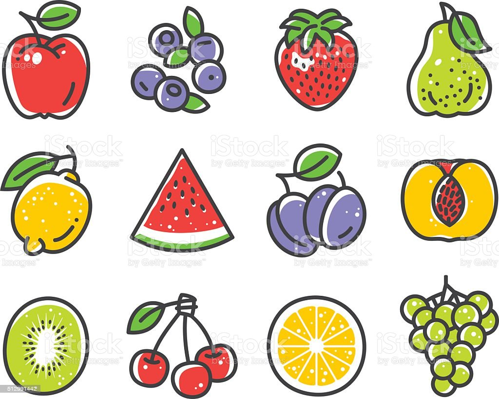 Fruits and Berries vector art illustration