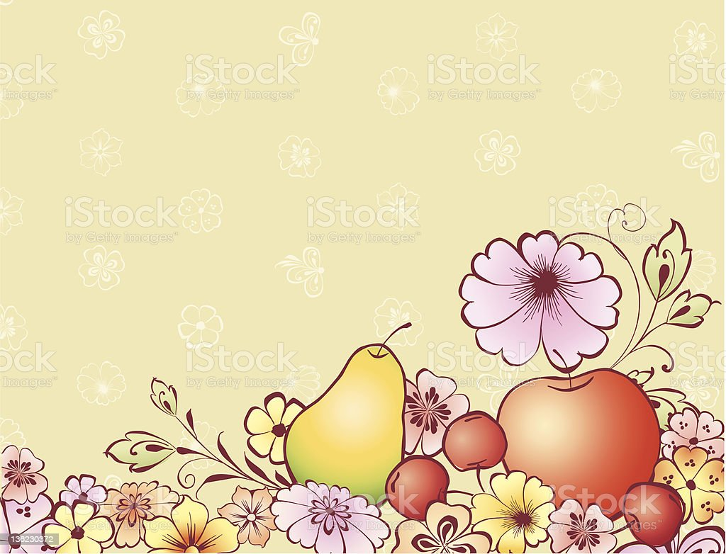fruits and flowers royalty-free stock vector art