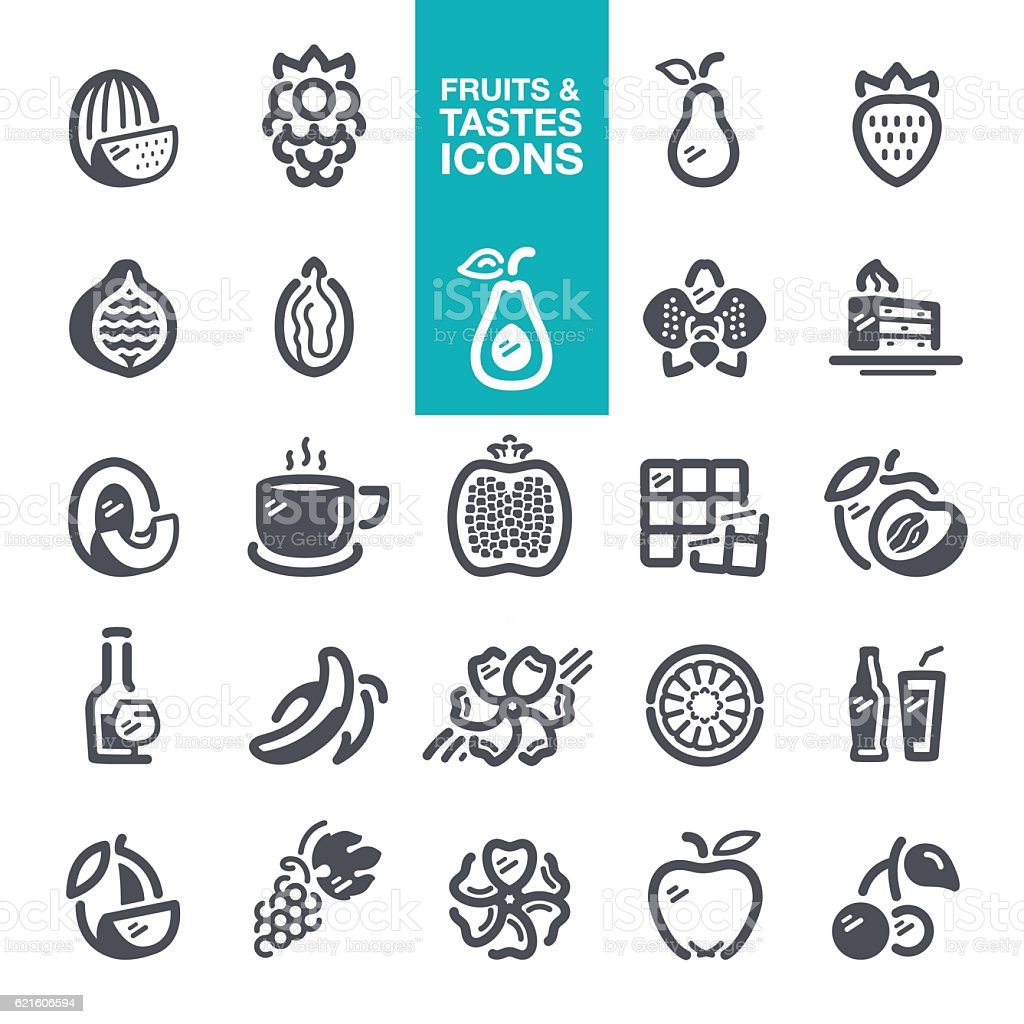Fruits and Tastes icons vector art illustration