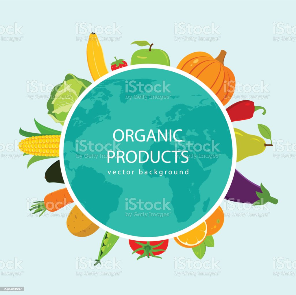 Fruits and Vegetables background. Organic food concept. Vector royalty-free stock vector art