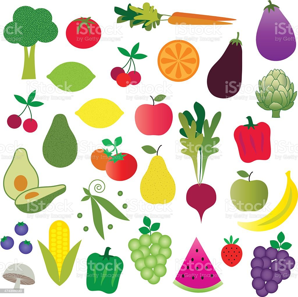 Clip Art Fruits And Vegetables Clipart fruits and vegetables clipart stock vector art 474355230 istock royalty free art