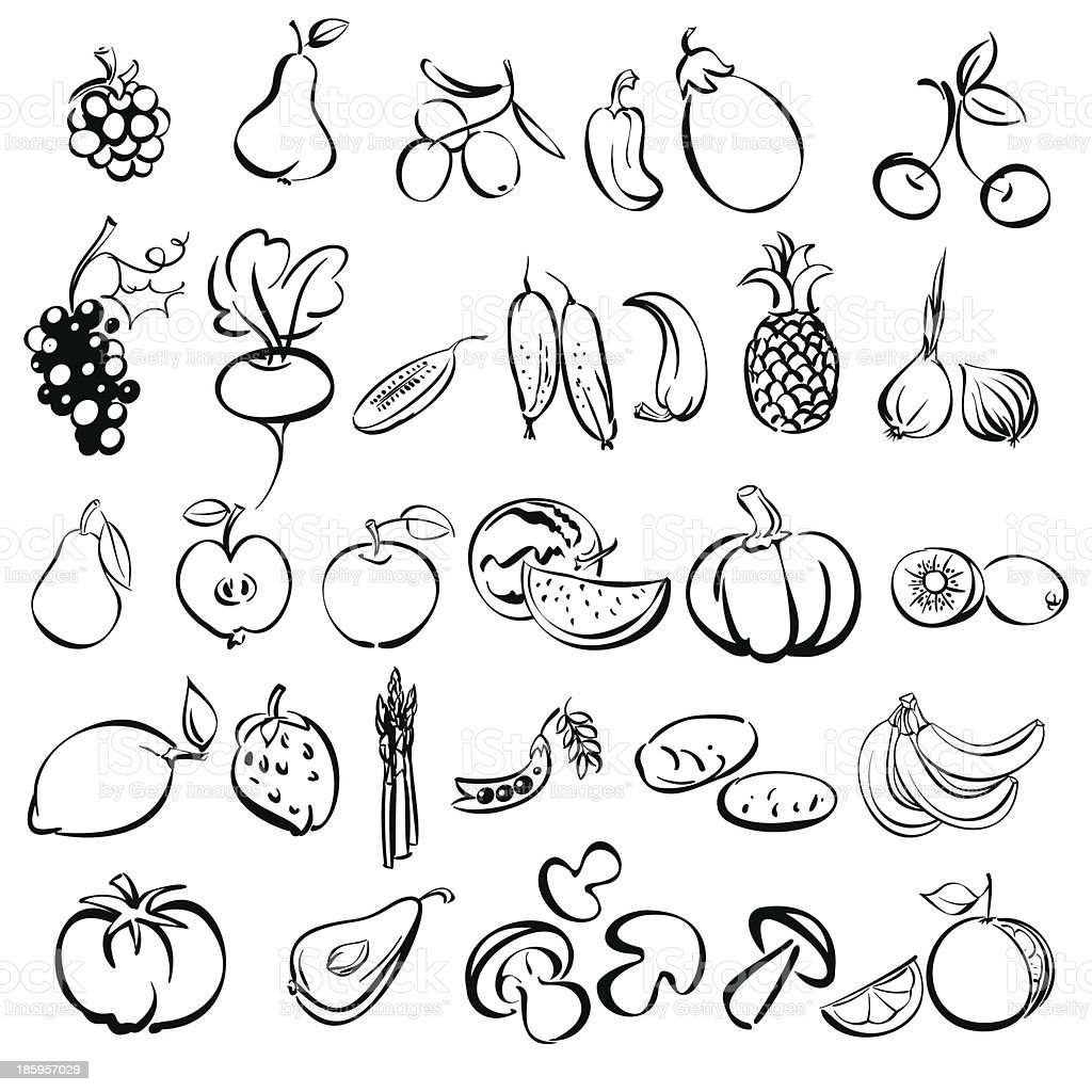 fruits and vegetables icon set sketch royalty-free stock vector art