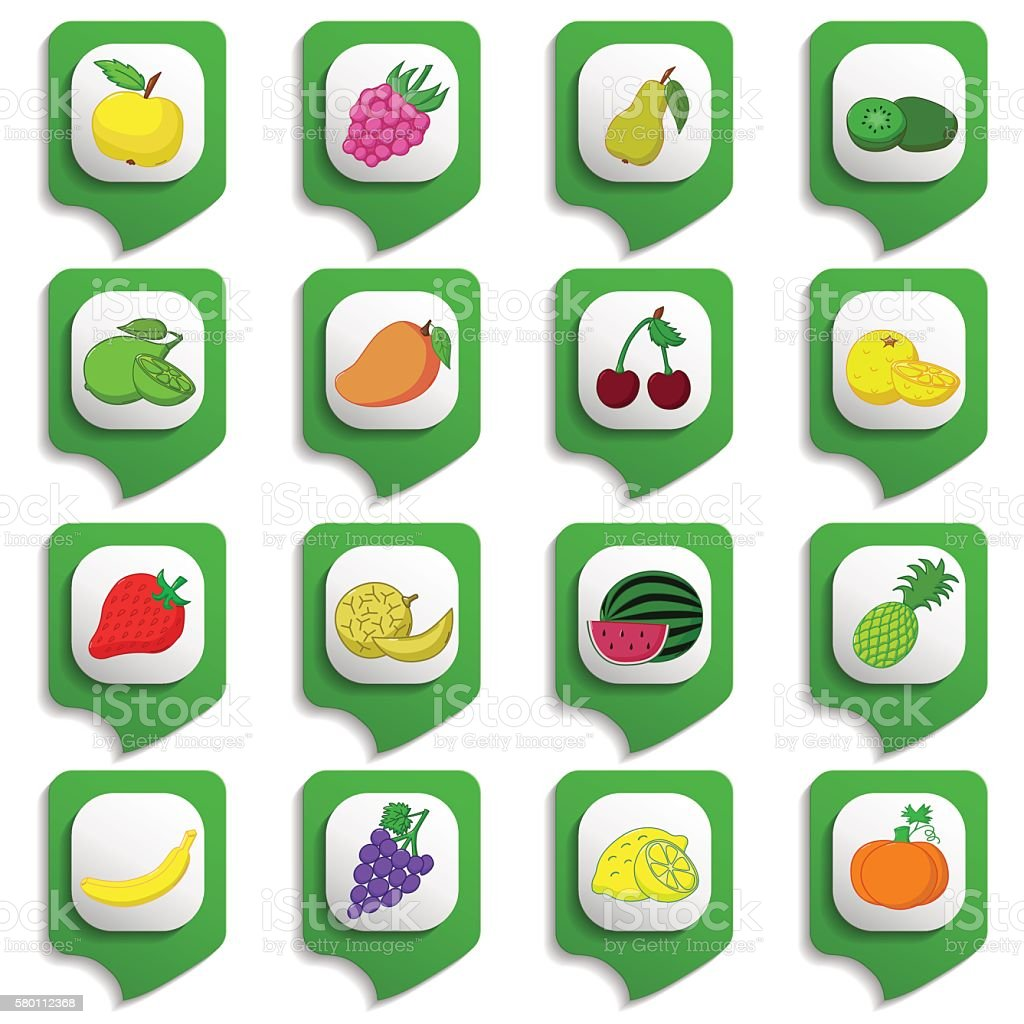 Fruits and vegetables icon set vector art illustration