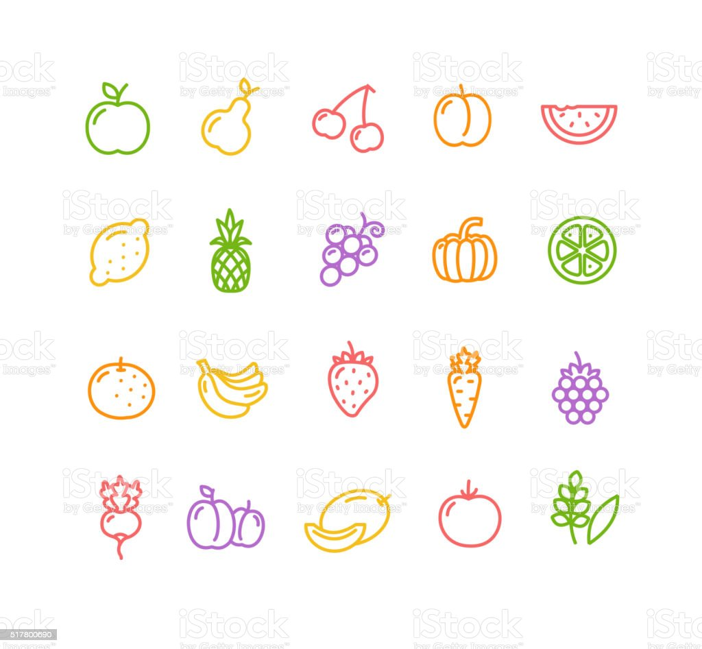 Fruits and Vegetables Icon Set. Vector vector art illustration
