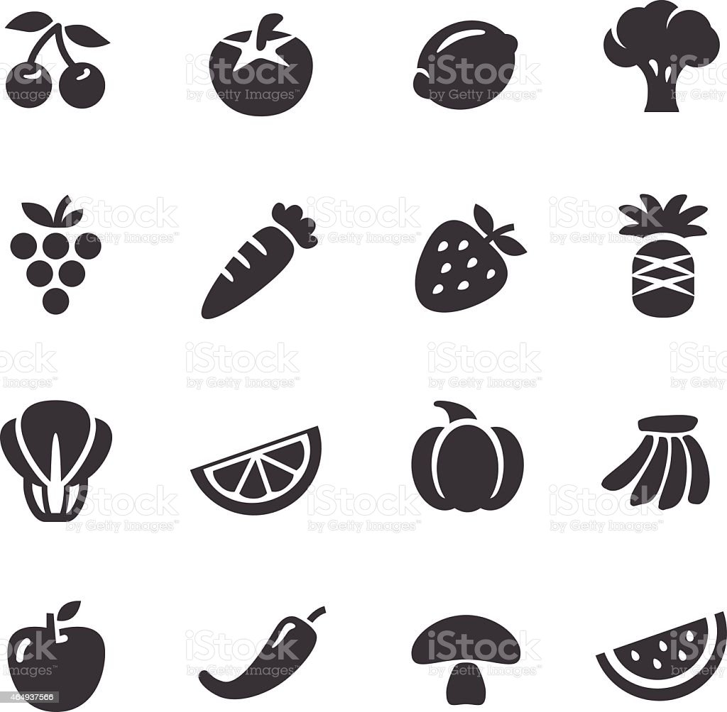 Fruits and Vegetables Icons - Acme Series vector art illustration