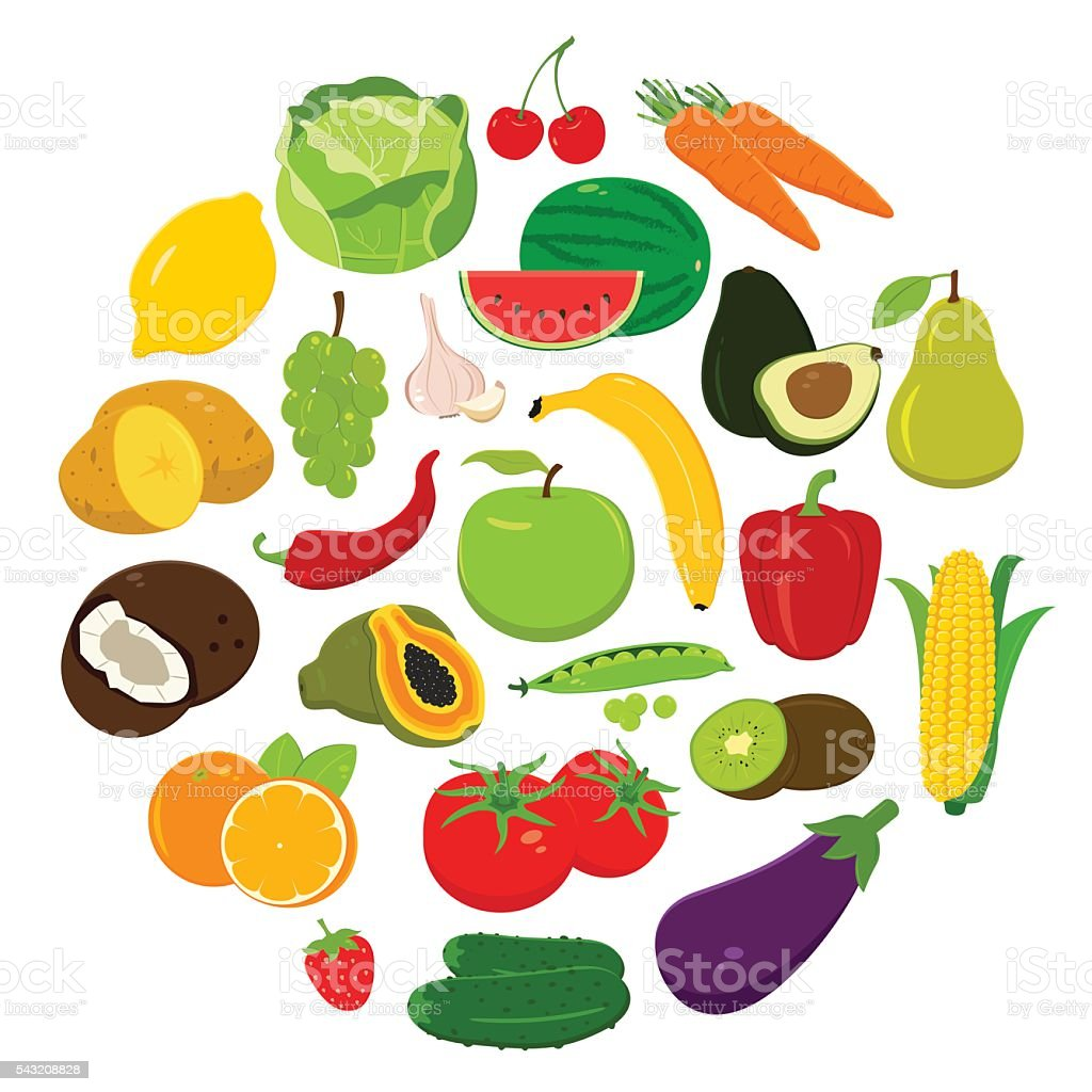 Fruits and Vegetables icons. Organic fruits and vegetables template. royalty-free stock vector art