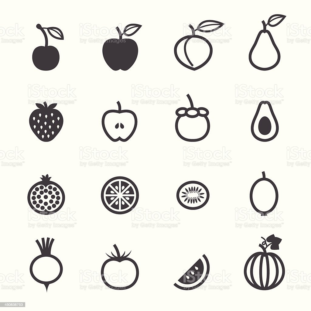 Fruits and Vegetables Icons royalty-free stock vector art