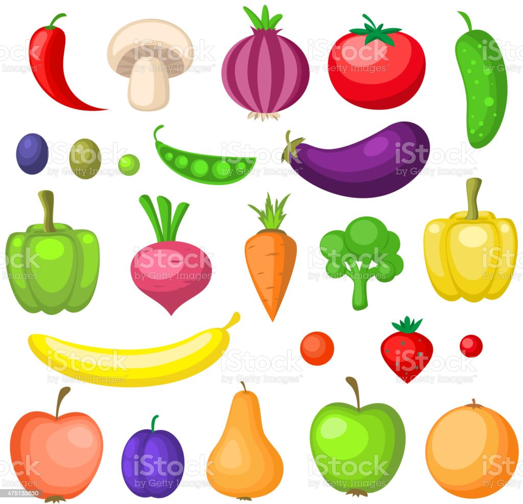 Fruits and vegetables icons vector art illustration