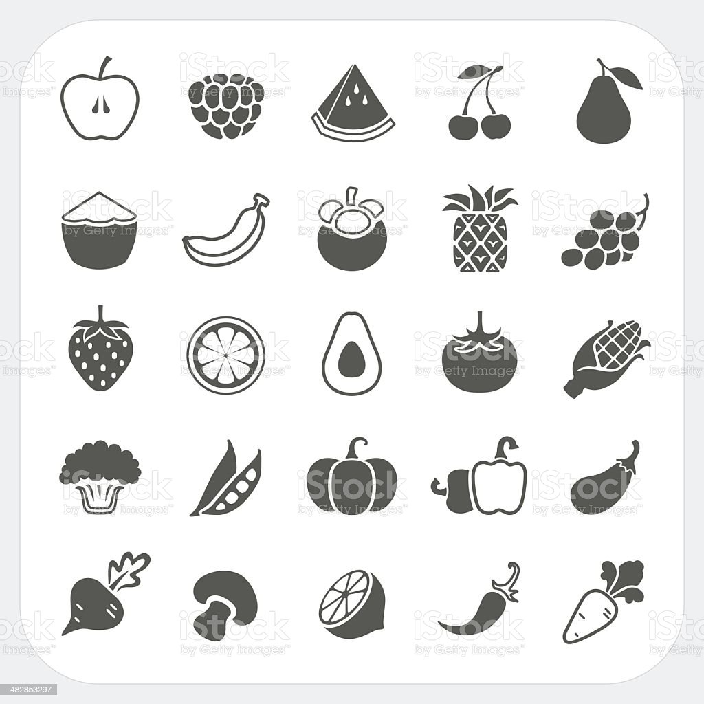 Fruits and Vegetables Icons with frame background vector art illustration