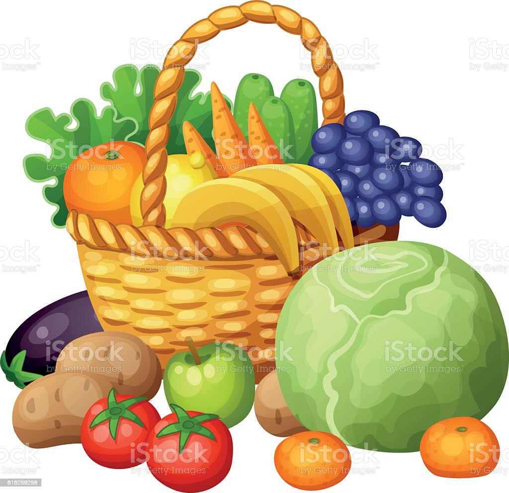 fruit and vegetables basket clipart