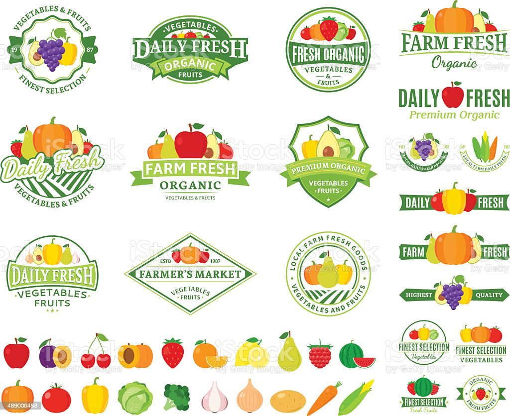 Fruits and Vegetables Labels, Fruits and Vegetables Icons vector art illustration