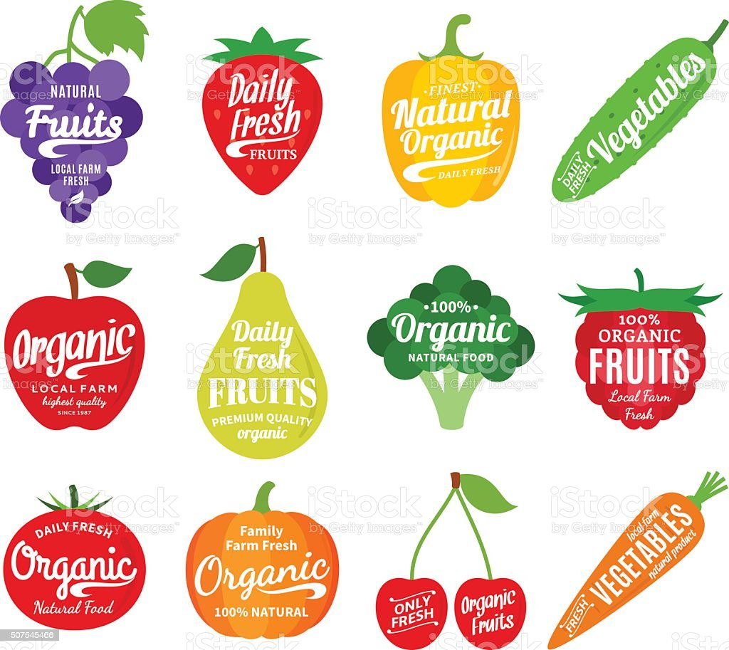 Plant top view vector in group download free vector art stock - Fruits And Vegetables Labels Icons And Design Elements Royalty Free Stock Vector Art