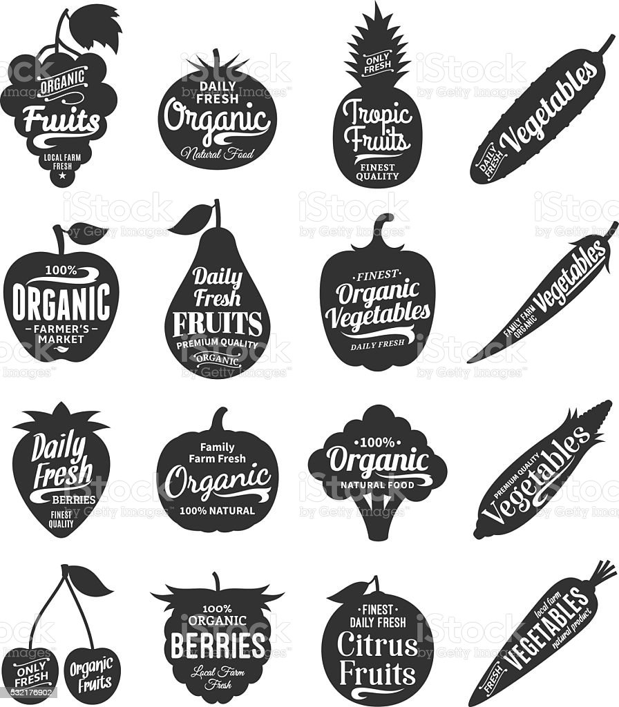 Fruits and Vegetables Labels, Icons and Design Elements vector art illustration