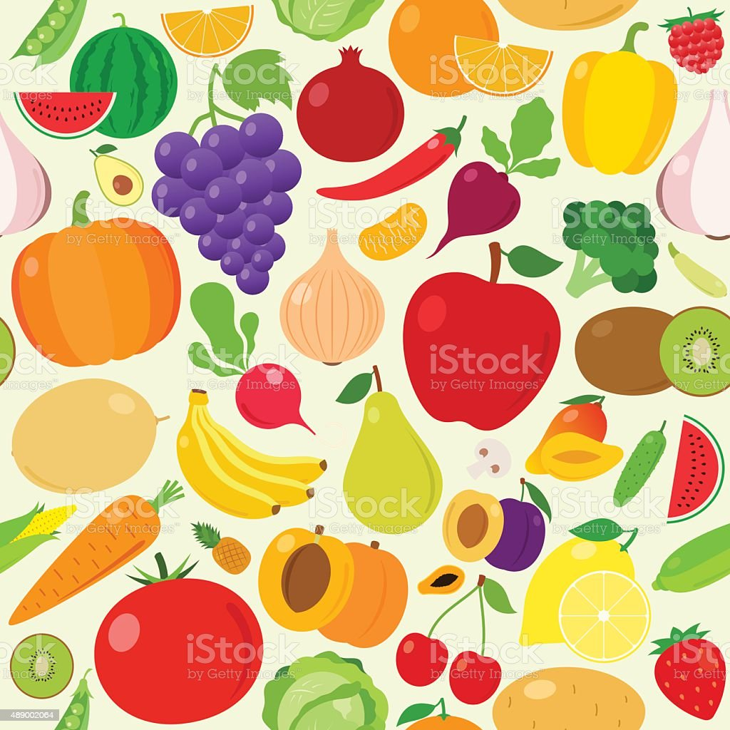 Fruits and Vegetables Seamless Pattern vector art illustration