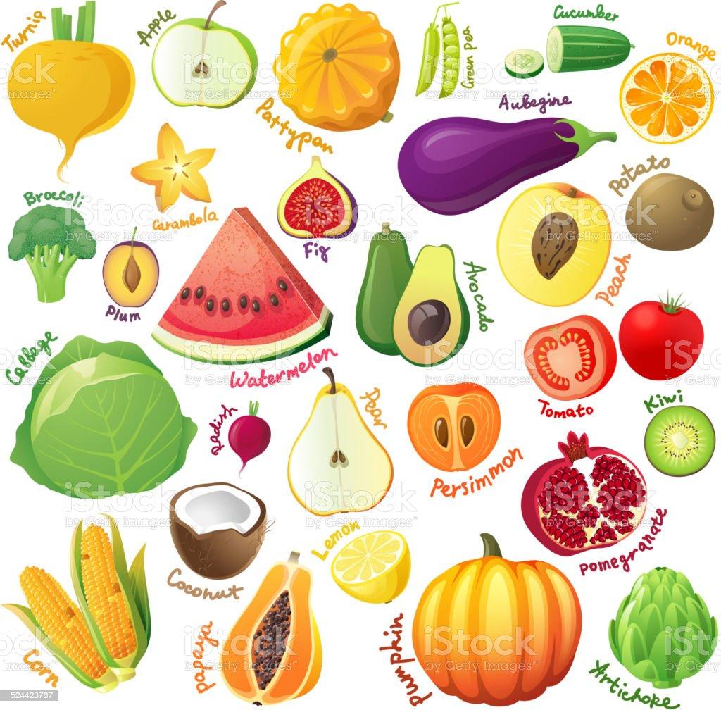 Fruits and vegetables set vector art illustration