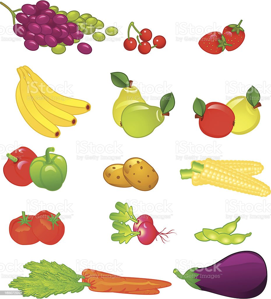 Fruits and vegetables . royalty-free stock vector art