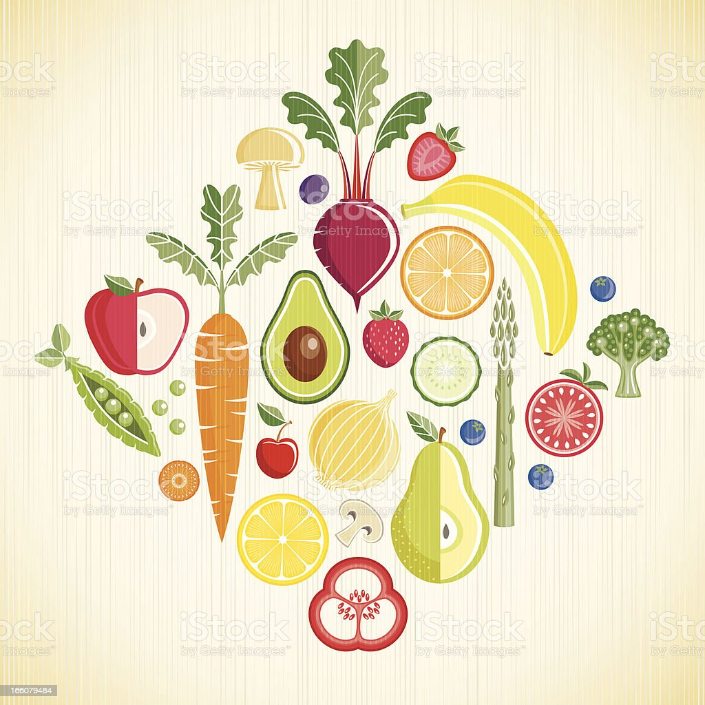 Fruits and Vegetables vector art illustration