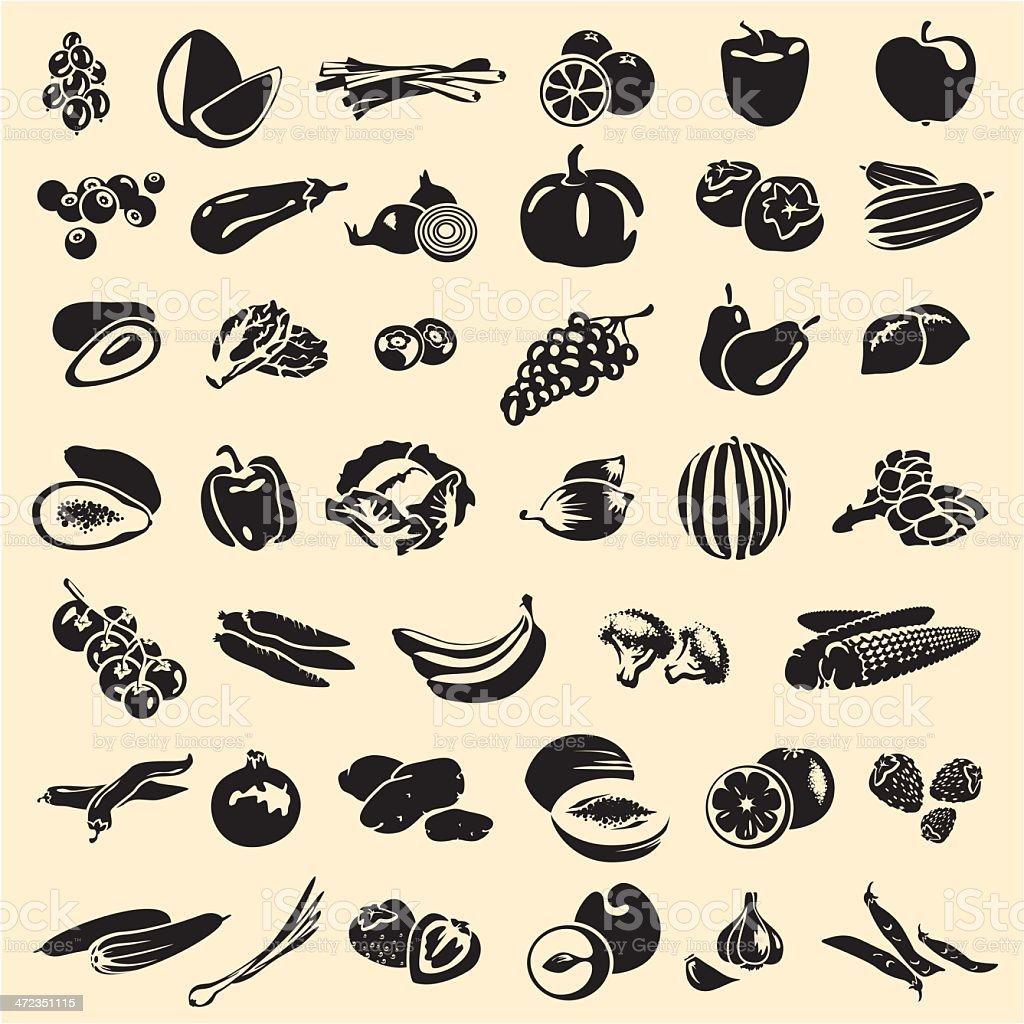 Fruits and vegetables vector art illustration