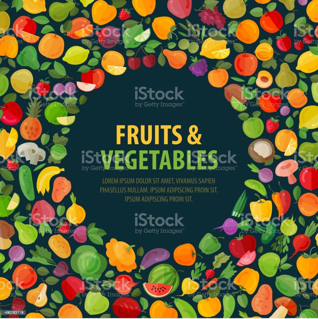 fruits and vegetables vector logo design template. food or garden vector art illustration