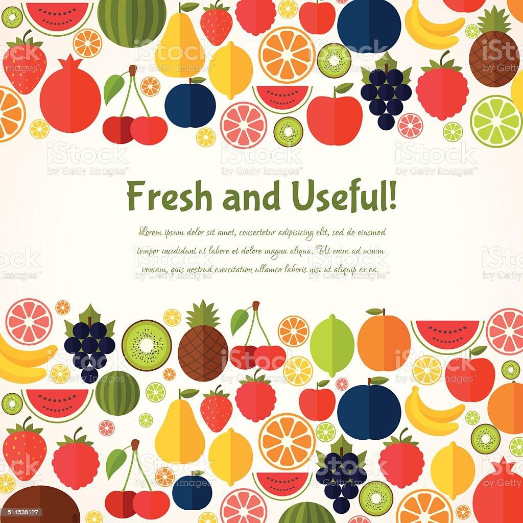 Fruits  background. vector art illustration