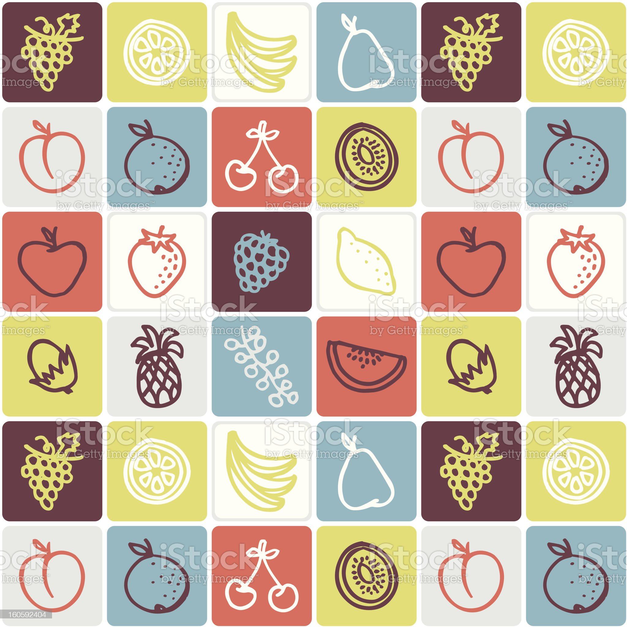 Fruits checked pattern royalty-free stock vector art
