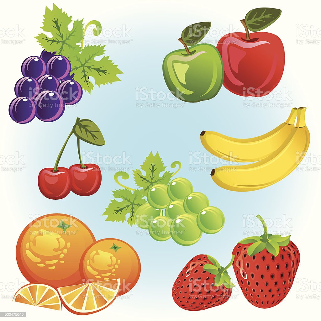 Fruits Collection vector art illustration
