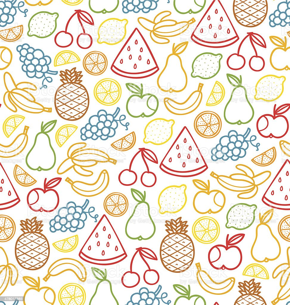 Fruits doodle pattern royalty-free stock vector art