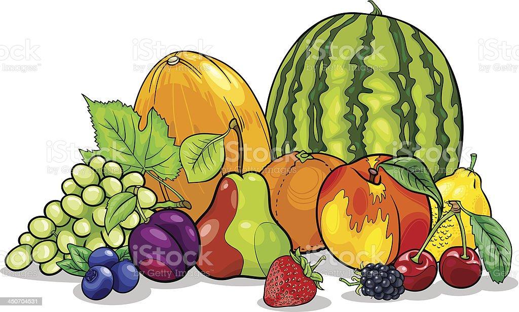 fruits group cartoon illustration royalty-free stock vector art