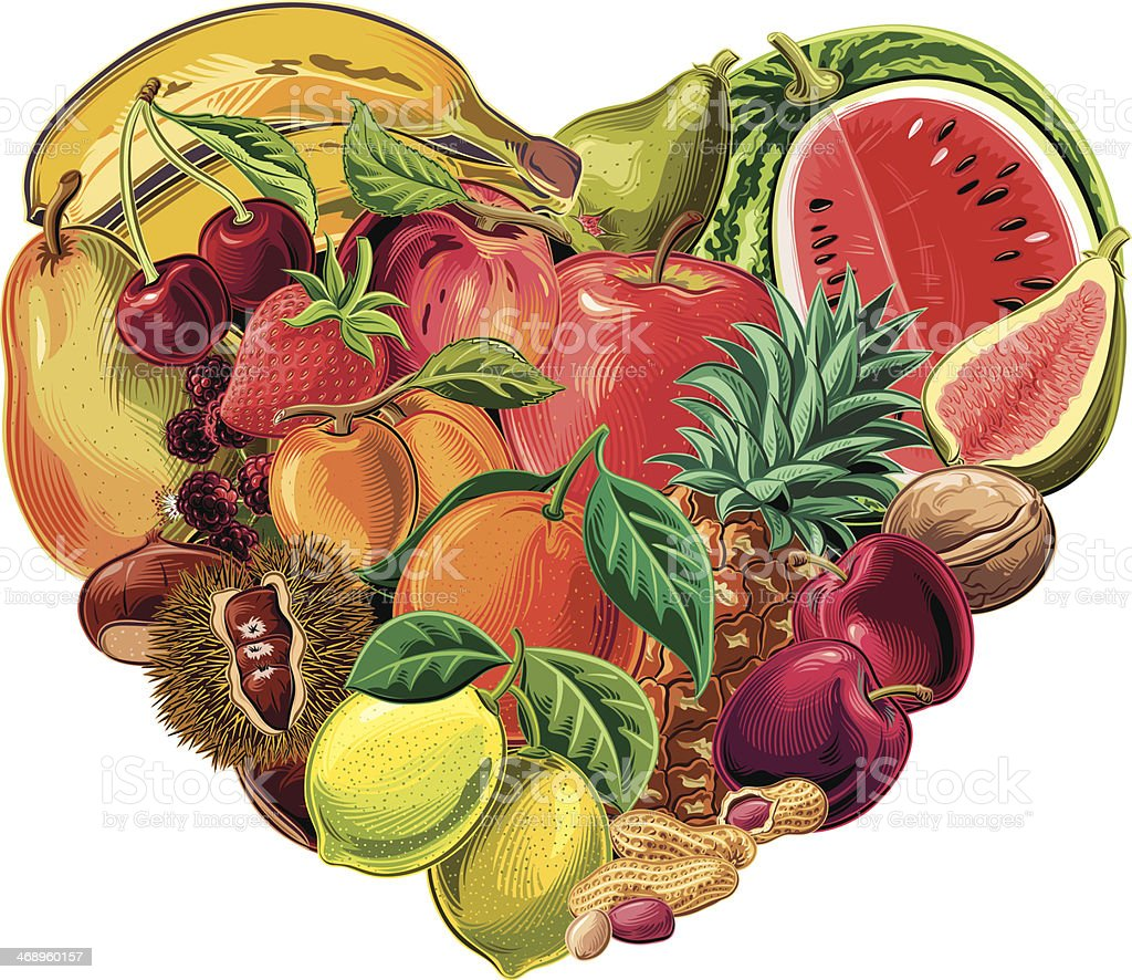fruits heart royalty-free stock vector art