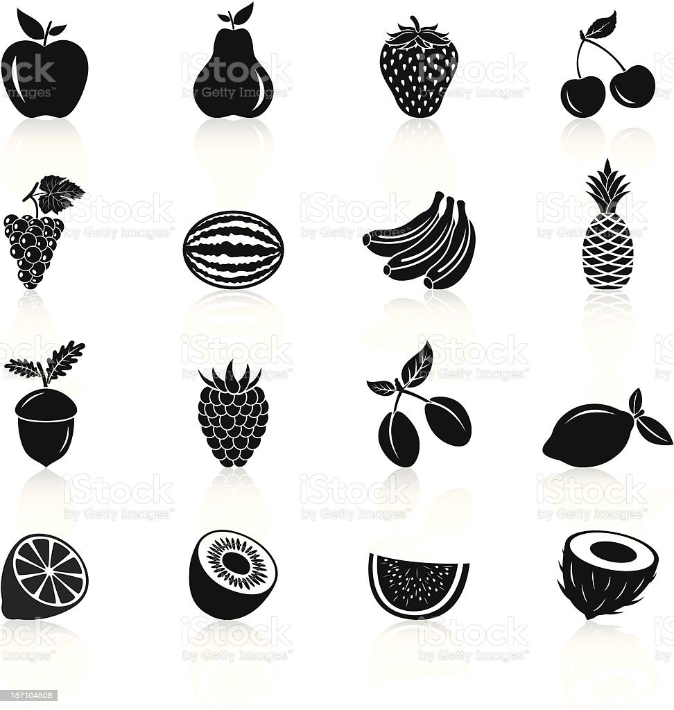 Fruits Icons - Black Series vector art illustration