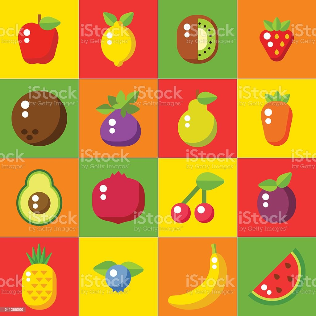 Fruits icons set in flat style. Food poster. Healthy food vector art illustration