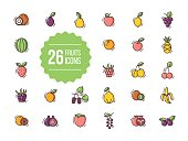 Fruits icons set in flat style