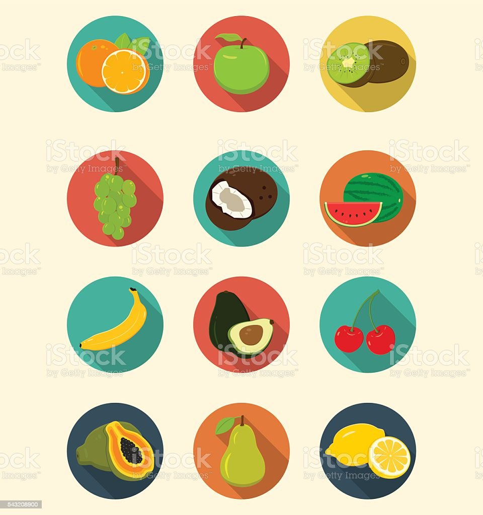 Fruits icons set modern flat design. Healthy eating concept. Vector royalty-free stock vector art
