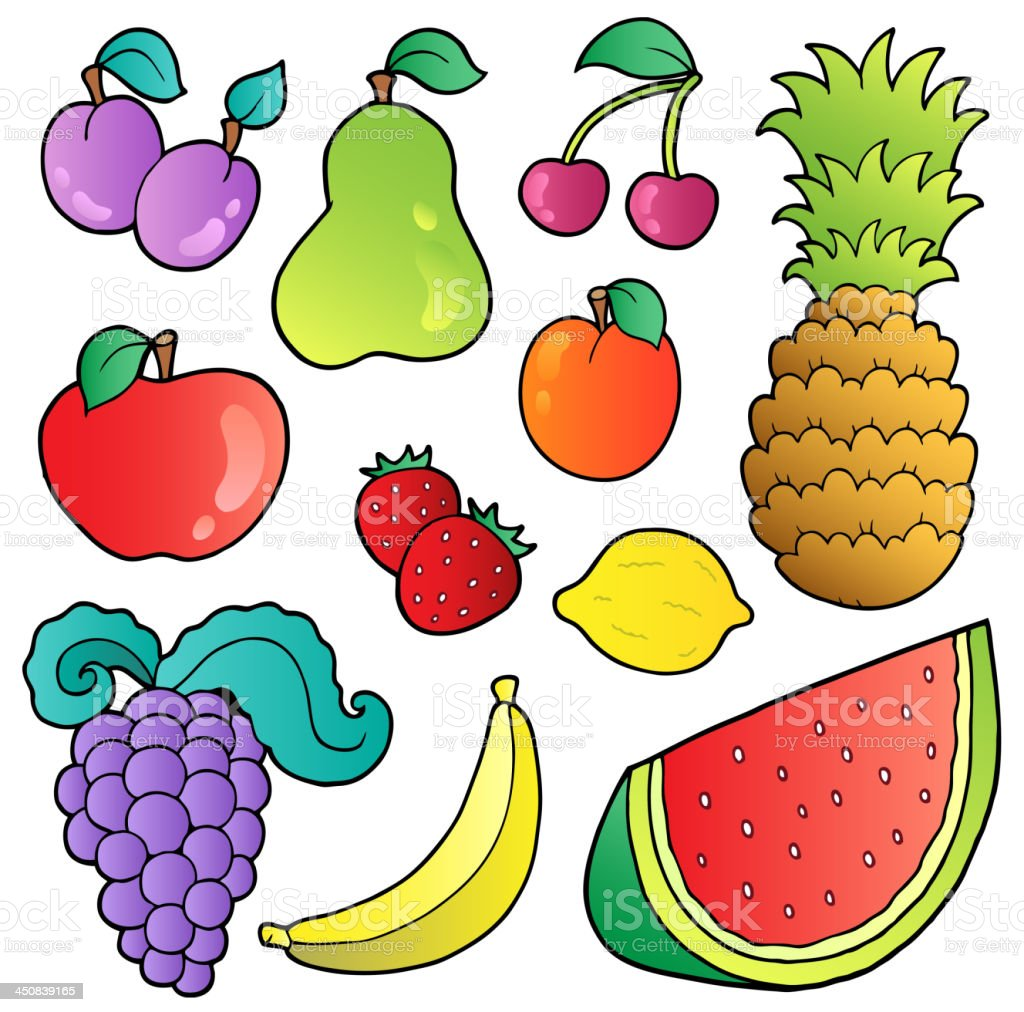 Fruits images collection royalty-free stock vector art