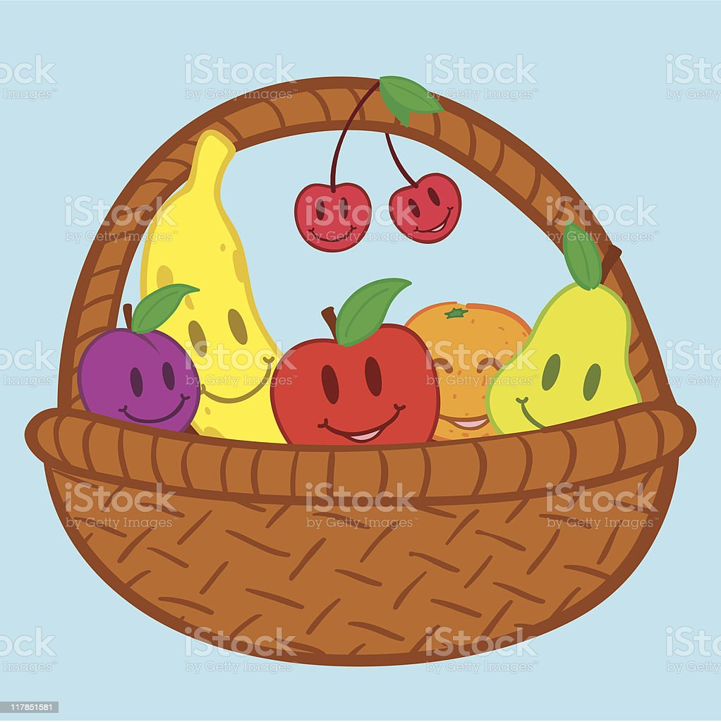 Fruits in basket doodle face smile royalty-free stock vector art