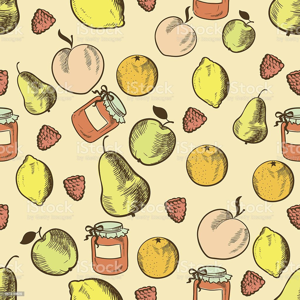 Fruits in retro style seamless pattern royalty-free stock vector art